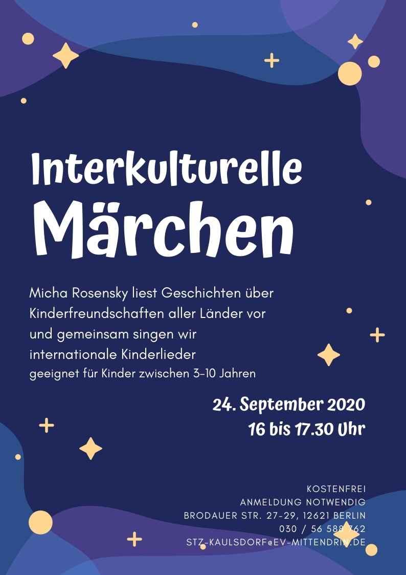 Plakat Interkulturelle Märchen - Dunkelblauer Hintergrund - violette Elemente außen, darüber liegen gelbe Sterne